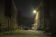 Old housing in Ghent at night , typical ghentian street Royalty Free Stock Image