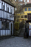 Old housing in the old area of Aarhus, Denmark Royalty Free Stock Photo
