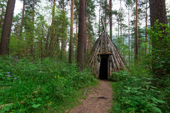 Old hovel of ancient altai people. In the forest, Altai, Siberia, Russia Stock Image