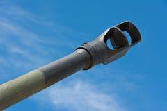 Old Howitzer gun barrel aimed skyward Stock Image