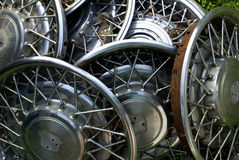 Old Hubcaps. A pile of old hubcaps royalty free stock photos