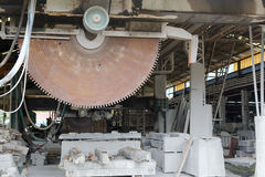Old huge circular saw in workroom Stock Image