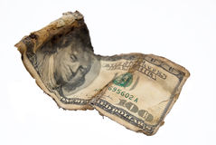Old hundred of dollars Stock Photo