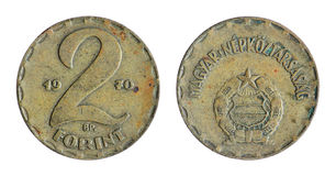 Old Hungarian, forint coin. Old Hungary, Hungarian, forint coin on the white background (1970 year royalty free stock photography