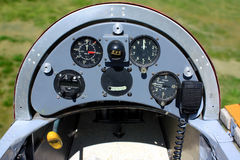 Old Hungarian glider airplane instrument panel Royalty Free Stock Photo