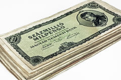Old Hungarian hundreds of millions pengo currency isolated Royalty Free Stock Photo