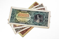 Old Hungarian lakh pengo currency isolated Stock Photo