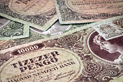 Old Hungarian money with stamp Royalty Free Stock Image