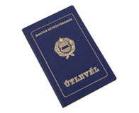Old Hungarian Passport. On white background Royalty Free Stock Images