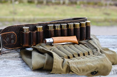 Old hunting cartridges Royalty Free Stock Photography