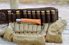 Old hunting cartridges Stock Photos