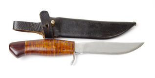 Old hunting knife with sheath Royalty Free Stock Photo