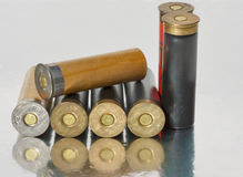 Old hunting shells. A group of old shells for a 12 gauge shotgun Stock Photography