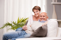 Old husband and wife loving happily Stock Photography