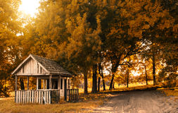 Old hut. In the autumn park Royalty Free Stock Photos