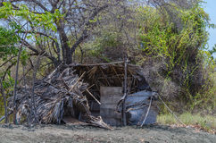 Old hut on the beach. Old dilapidated hut on the beach Royalty Free Stock Image