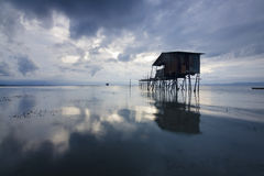 Old hut on a gloomy weather at Sabah, Borneo Royalty Free Stock Photos