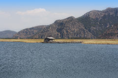 Old hut beside river countryside photo Royalty Free Stock Photography