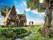 Old hut with well. And colorful flowers stock illustration
