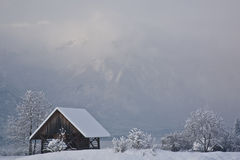 Old hut in winter Stock Photography