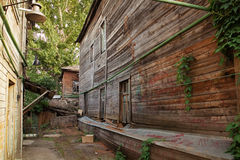 Old huts. Wooden old buildings. Hut houses Stock Photos