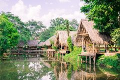 Old huts and piles of straw and wood where they dwelled fishermen Royalty Free Stock Image