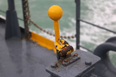 Old hydraulic lever on the ferry boat. Royalty Free Stock Photos