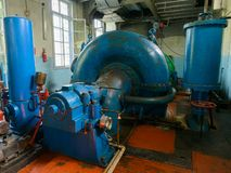 Hydraulic turbine. Old hydraulic turbine at a electric power plant royalty free stock image