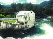 Old Hydroelectric power station in Chemal, Gorny Altai. Hydroelectric power station in Chemal, Gorny Altai Stock Images