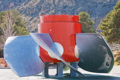 Old hydroelectric turbine on display Royalty Free Stock Images