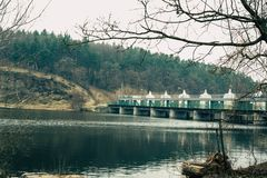 Old hydropower plants stock photo