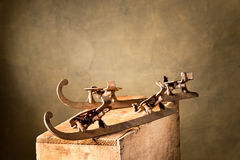 Old ice-skates Stock Photo