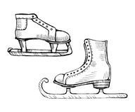 Old ice skates vector line illustration Stock Photography