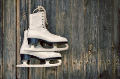 Old ice skates on wooden wall Royalty Free Stock Image