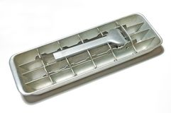 Old ice tray. In white background Royalty Free Stock Photo