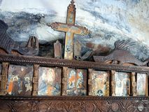 Old Icons, Greek Island Church Stock Images