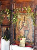 Old Icons, Greek Island Church Stock Photo