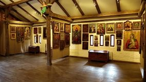 Old icons inside Radomysl Castle, the museum of Ukrainian home icons stock video footage