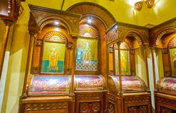 The old icons in orthodox St Sergius Church in Cairo, Egypt Royalty Free Stock Photo