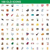 100 old icons set, cartoon style. 100 old icons set in cartoon style for any design illustration vector illustration