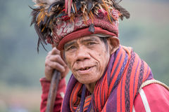 Old ifugao man in national dress next to rice terraces. Ifugao - the people in the Philippines. Royalty Free Stock Image