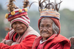 old ifugao people in national dress next to rice terraces. Royalty Free Stock Image