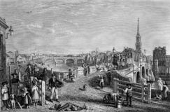 Free Old Illustration Of River And Town Scene Stock Image - 162654431