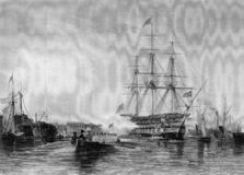 Old Illustration Of  South Of England Ship Scene Royalty Free Stock Photos
