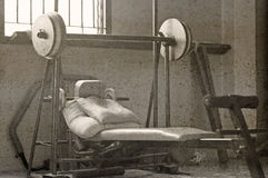 OLd image of weights lifting. Royalty Free Stock Image