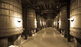 Old image  of winery. With   wooden barrels Royalty Free Stock Photography