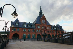 The old immigration train station. In Liberty Park New Jersey stock image