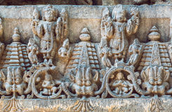 Old Indian Architecture Background On Traditional Style Relief, With Fantasy Animals, Temple In Halebidu, India. Royalty Free Stock Photo