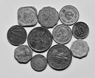Old indian coins. Of five paise two paise  and anna  just after independence and before Stock Photography