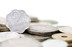 Old indian coins isolated Royalty Free Stock Photo